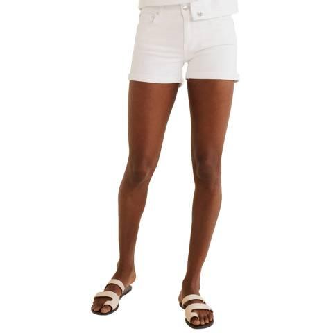 Mango White Denim Cotton Short