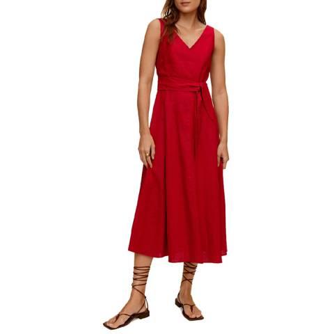 Mango Red Tie Waist Linen Blend Midi Dress