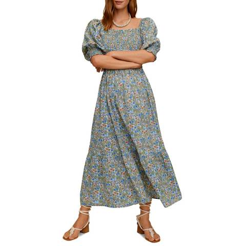 Mango Multi Floral Gathered Cotton Maxi Dress