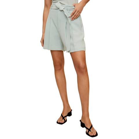 Mango Pale Green Pleated Tailored Short