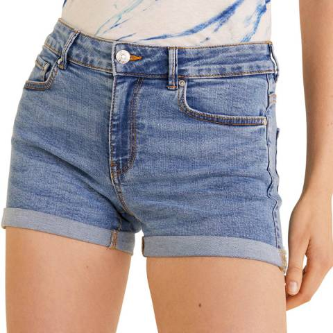 Mango Blue Denim Cotton Short