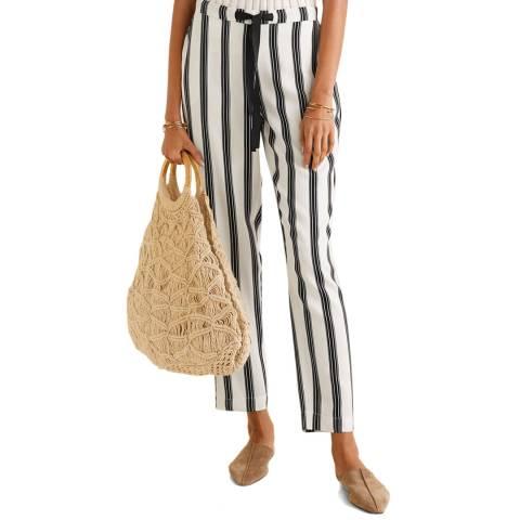 Mango Off White Stripe Straight Leg Trouser