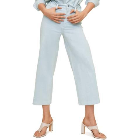 Mango Sky Blue High Wasited Cotton Jean