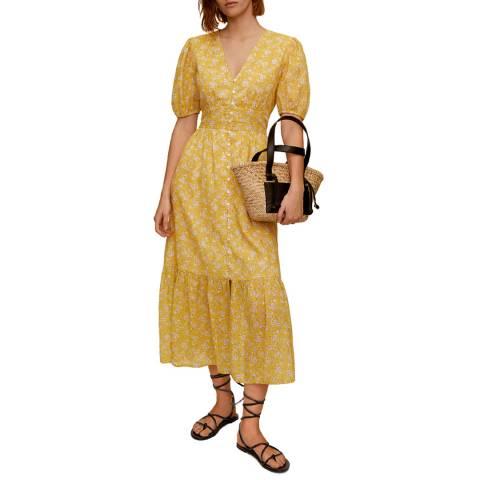 Mango Yellow Floral Print Puff Sleeve Cotton Dress
