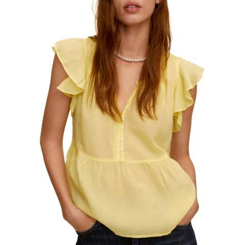 Mango Yellow Ruffled Cotton Blend Blouse