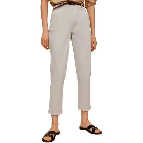 Mango Light/Pastel Grey Belted Chino Cotton Trouser