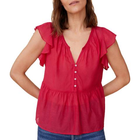 Mango Pink Ruffle Sleeve Cotton Blend Blouse