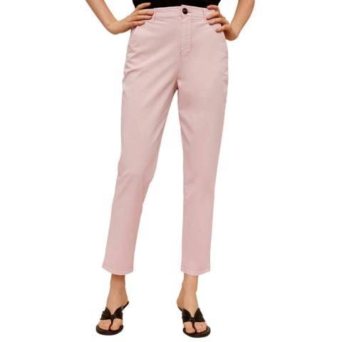 Mango Pink Belted Chino Cotton Trouser