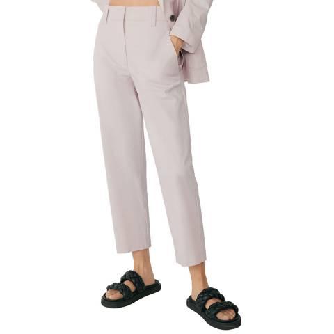 Mango Light Pink Cotton Blend Trouser