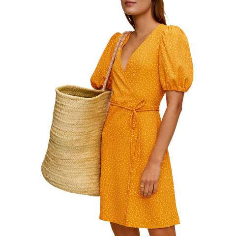 Mango Bright Yellow V neck Mini Dress