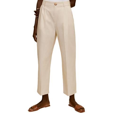 Mango Ecru Straight Leg Cotton Blend Trouser