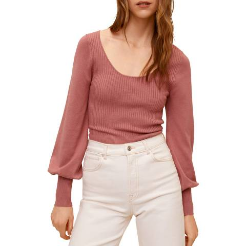Mango Pink Blouson Sleeve Jumper