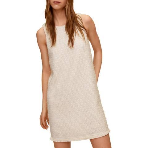 Mango Ecru Cotton Blend Mini Dress