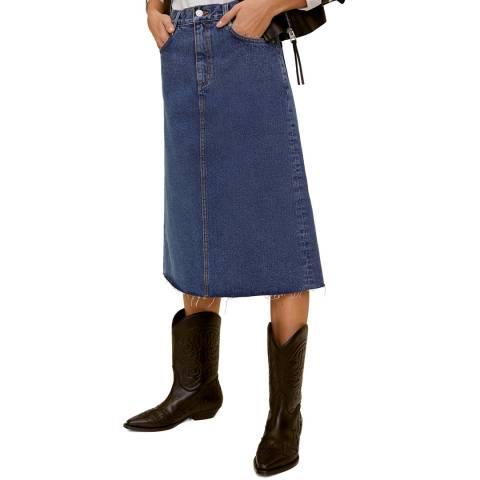 Mango Dark Blue Denim Cotton Midi Skirt
