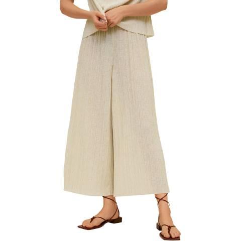 Mango Beige Pleated Culotte Trouser