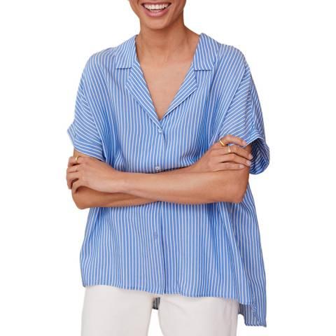 Mango Blue Stripe Short Sleeve Shirt