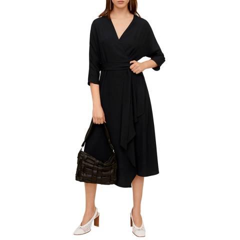 Mango Black Tie Waist Midi Dress