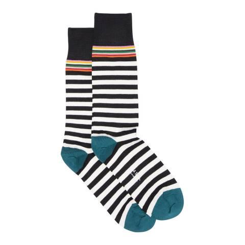 PAUL SMITH Black/Multi Top 2 Stripe Socks