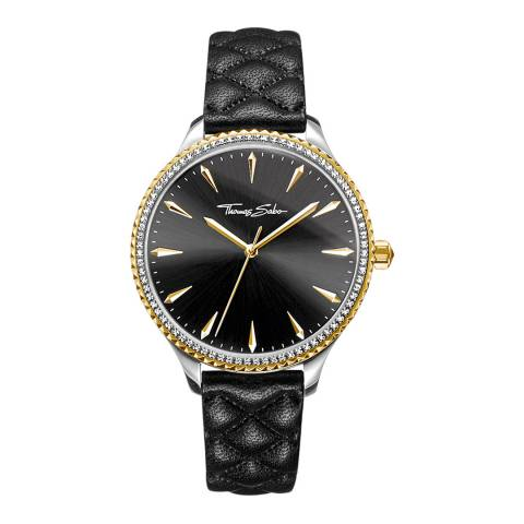 Thomas Sabo Black Quilted Leather Watch 38mm