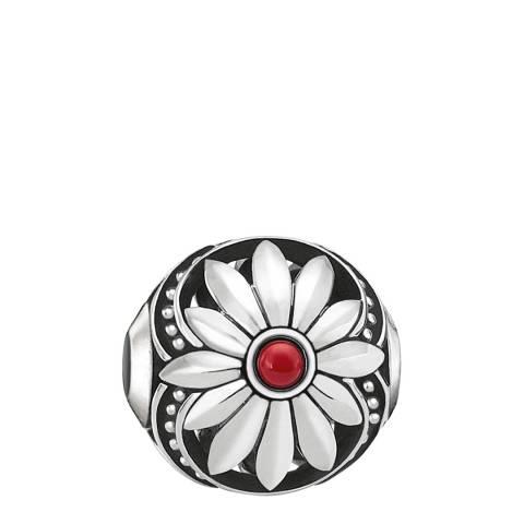 Thomas Sabo Silver Red Ethnic Flower Karma Bead