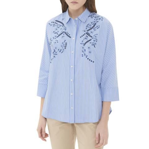 Gerard Darel Blue Striped Embroidered Shirt