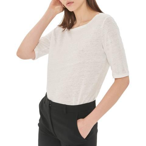 Gerard Darel White Round Neck Linen T-Shirt