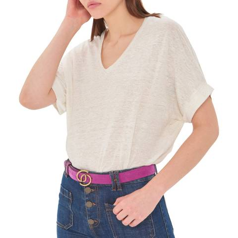 Gerard Darel Ecru V Neck Linen T-Shirt