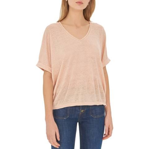 Gerard Darel Pink V Neck Linen T-Shirt