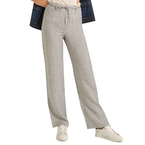 Gerard Darel Blue Striped Linen Trousers