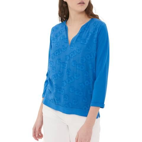 Gerard Darel Blue Patterned V Neck T-Shirt