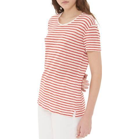 Gerard Darel Red Striped Short Sleeved Linen T-Shirt