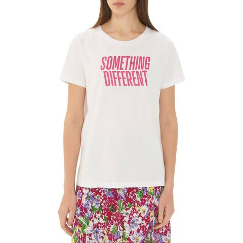Gerard Darel White/Pink Graphic Print T-Shirt