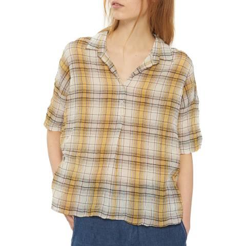 Gerard Darel Yellow Checked Cotton Blouse