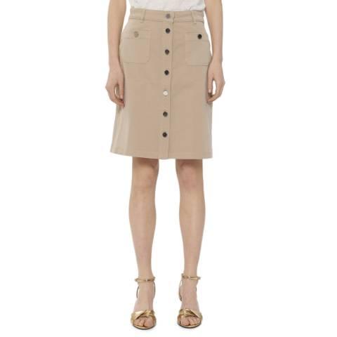 Gerard Darel Beige Buttoned Cotton Skirt