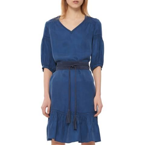Gerard Darel Blue V Neck Ruffled Dress