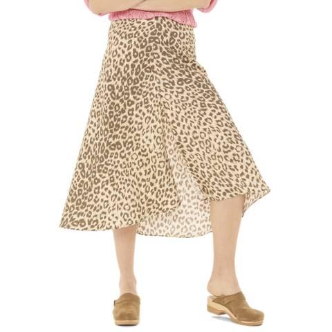Gerard Darel Beige Patterned Midi Skirt