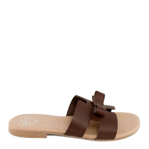 Romy B Brown Leather Bow Slide Sandal