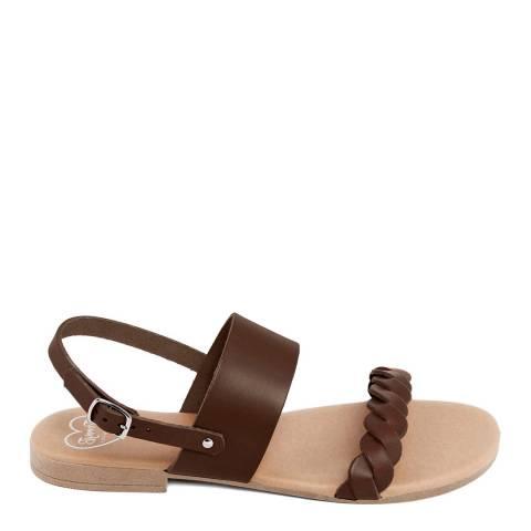 Romy B Brown Leather Braided Flat Sandal