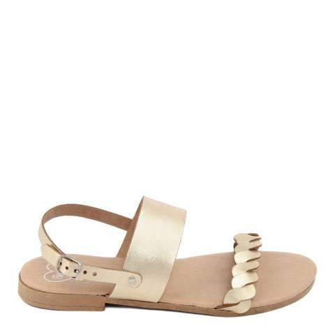 Romy B Gold Leather Braided Flat Sandal