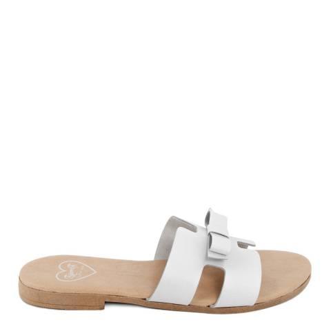 Romy B White Leather Bow Slide Sandal