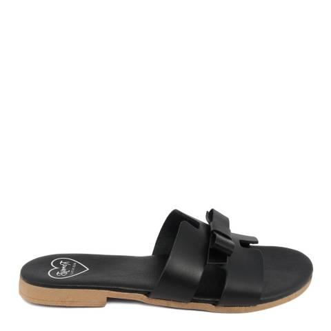Romy B Black Leather Bow Slide Sandal