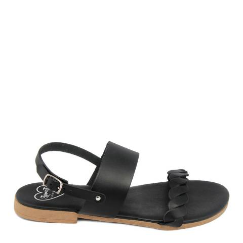 Romy B Black Leather Braided Flat Sandal