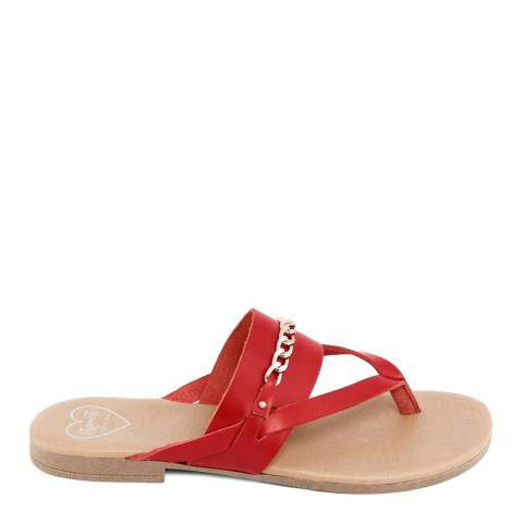 Romy B Red Leather Chain Flip Flop Sandal