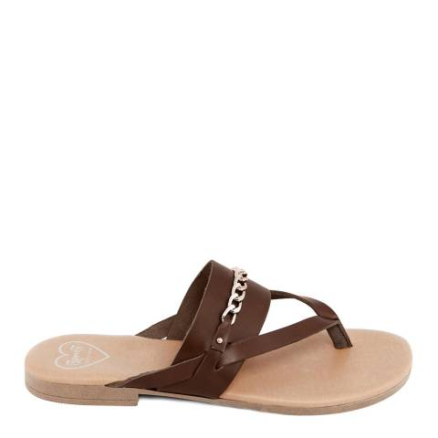 Romy B Brown Leather Chain Flip Flop Sandal
