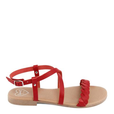 Romy B Red Leather Crossover Braided Sandal