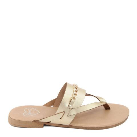 Romy B Gold Leather Chain Flip Flop Sandal