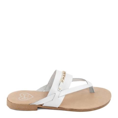 Romy B White Leather Chain Flip Flop Sandal