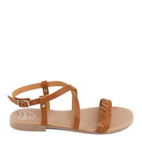 Romy B Tan Leather Crossover Braided Sandal