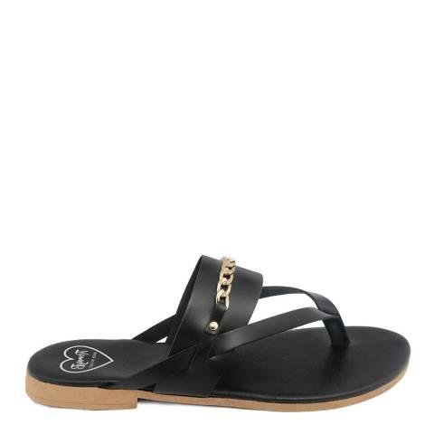 Romy B Black Leather Chain Flip Flop Sandal