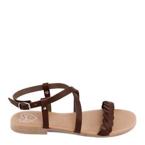 Romy B Brown Leather Crossover Braided Sandal
